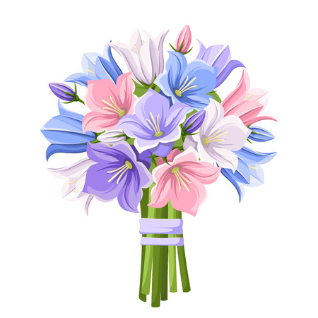 Illustration pour bouquet of blue, purple, pink and white bluebell flowers isolated on a white background. - image libre de droit