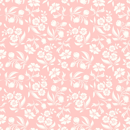 Illustration pour seamless pink and white pattern with flowers and leaves. - image libre de droit