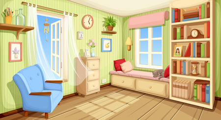 Illustration for Vector cozy room interior with bookcase, couch and armchair. - Royalty Free Image