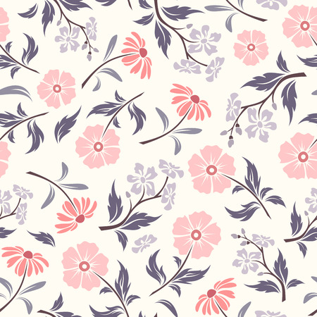 Vector seamless pattern with pink and purple flowers and leaves on a white background.