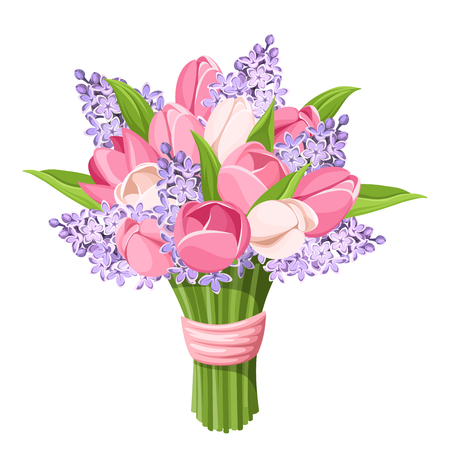 Illustration pour Vector bouquet of pink tulips and purple lilac flowers isolated on a white background. - image libre de droit