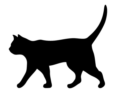 Illustration for Vector black silhouette of a walking cat. - Royalty Free Image