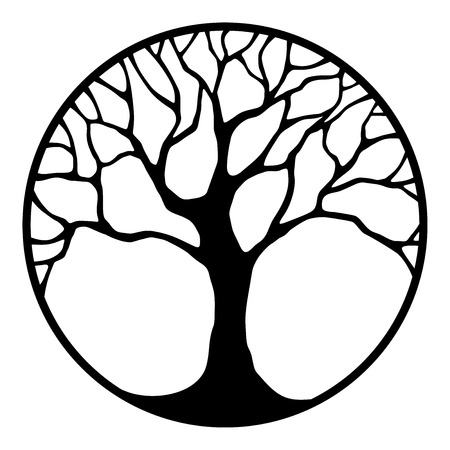 Illustration for Vector black silhouette of a tree in a circle isolated on a white background. - Royalty Free Image