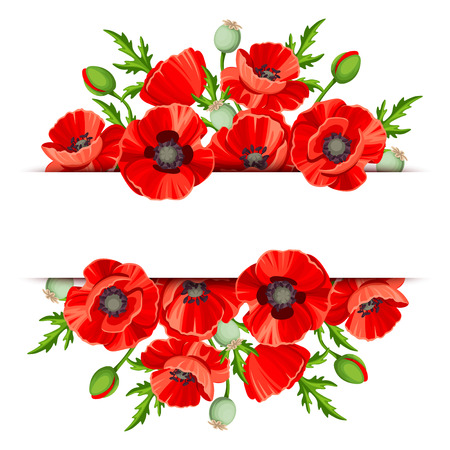 Illustration pour background banner with red poppies. - image libre de droit