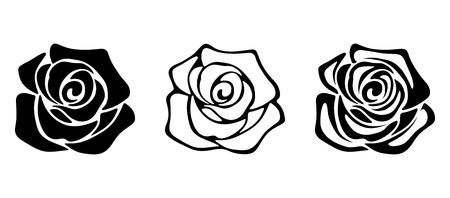 Ilustración de Set of three vector black silhouettes of rose flowers isolated on a white background. - Imagen libre de derechos