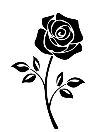 Illustration pour Vector black silhouette of a rose flower with stem isolated on a white background. - image libre de droit