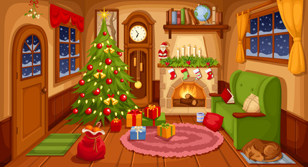 Illustration for Vector illustration of Christmas living room with sofa, fireplace, clock and fir-tree. - Royalty Free Image