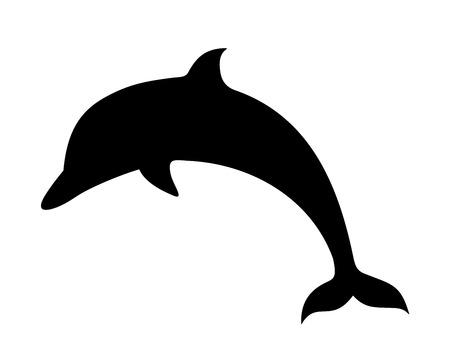 Vector black silhouette of a dolphin isolated on a white background.