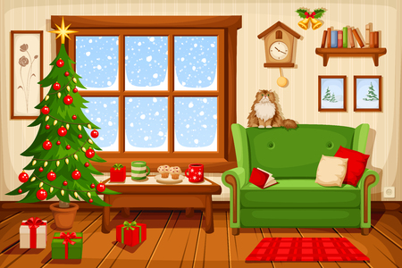 Illustration for Vector illustration of Christmas living room with fir-tree, sofa and snowfall behind the window. - Royalty Free Image