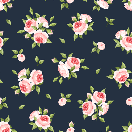 Illustration for Vector seamless pattern with pink roses on a dark blue background. - Royalty Free Image