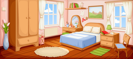 Illustration of a bedroom interior with a bed, nightstand, wardrobe and windows.