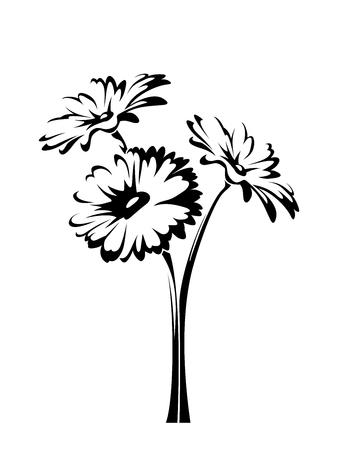 Ilustración de Three vector gerbera flowers with stems isolated on a white background. - Imagen libre de derechos