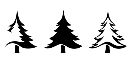 Illustration pour Vector set of black silhouettes of fir trees isolated on a white background. - image libre de droit