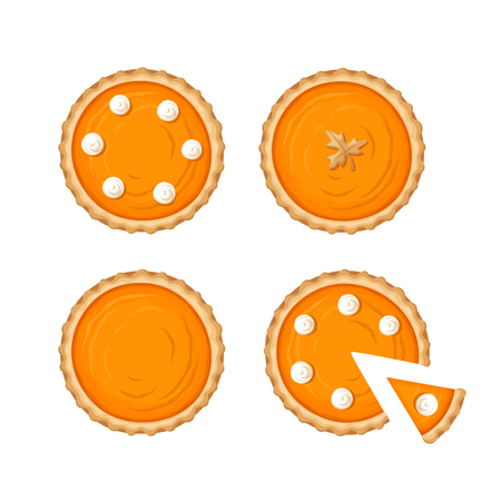 Vector set of pumpkin pies isolated on a white background.