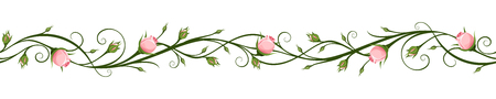 Illustration for Vector horizontal seamless background with pink rosebuds. - Royalty Free Image