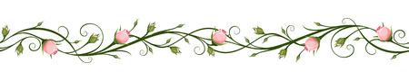 Illustration pour Vector horizontal seamless background with pink rosebuds. - image libre de droit