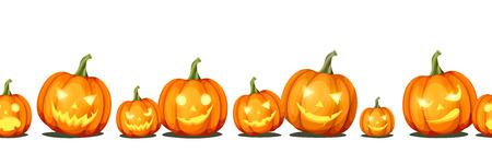 Illustration pour Vector horizontal seamless background with jack-o'-lanterns (Halloween pumpkins). - image libre de droit