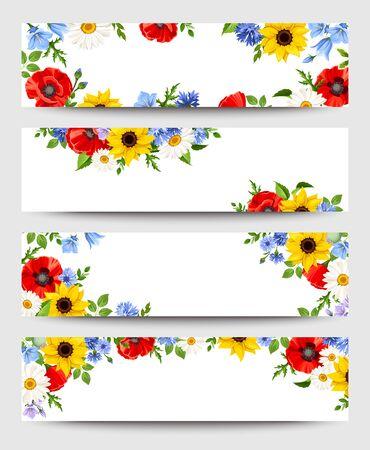 Illustration pour Set of vector web banners with colorful flowers. - image libre de droit