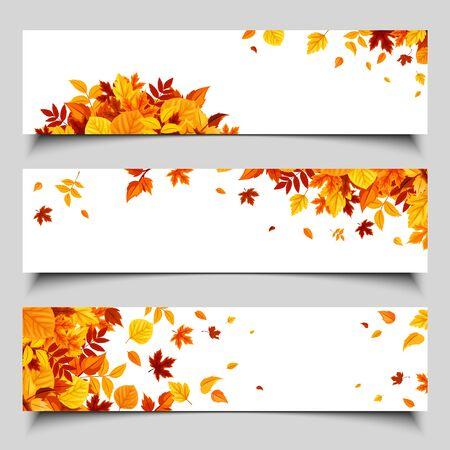 Illustration pour Set of three vector web banners with colorful autumn leaves. - image libre de droit