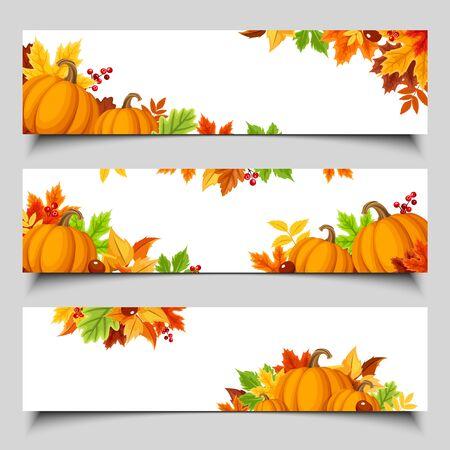 Illustration pour Set of three vector web banners with orange pumpkins and colorful autumn leaves. - image libre de droit