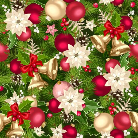Illustration pour Vector Christmas seamless background with red, pink and gold decorations. - image libre de droit