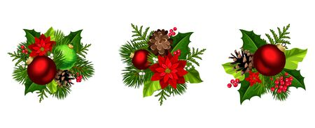 Illustration pour Set of three vector Christmas decorations with red and green balls, poinsettia flowers, fir-tree branches, pinecones, holly and mistletoe isolated on a white background. - image libre de droit