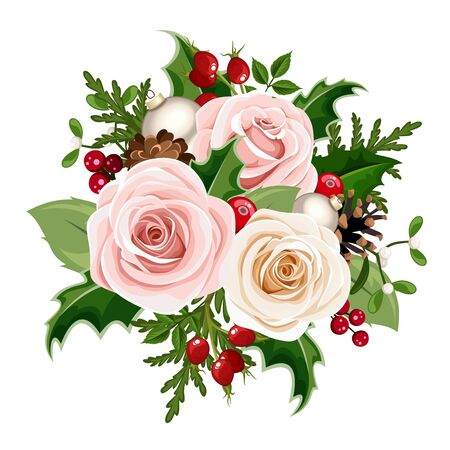 Illustration pour Vector Christmas bouquet with pink and white roses, balls, rosehip berries, holly, fir branches and cones isolated on a white background. - image libre de droit