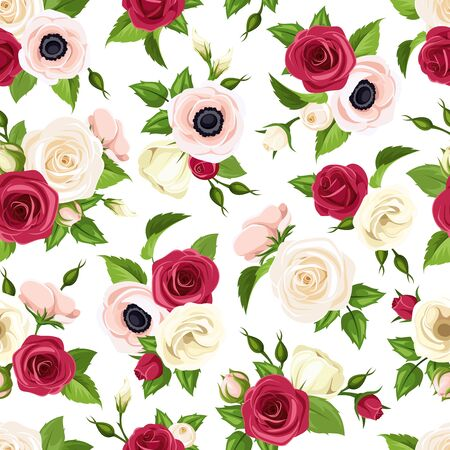 Illustration pour Vector seamless pattern with red, pink and white roses, lisianthuses and anemone flowers and green leaves. - image libre de droit