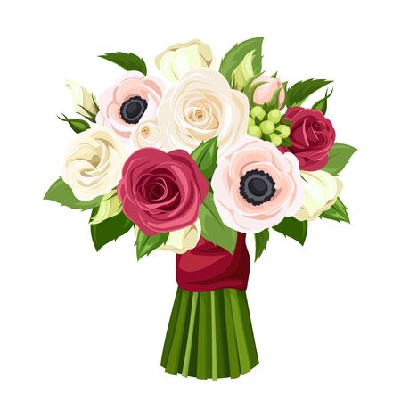 Illustration pour Vector bouquet of red, pink and white roses, lisianthuses and anemone flowers. - image libre de droit