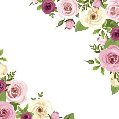 Illustration for Vector background or invitation card with pink and white roses and lisianthus flowers and blackberries. - Royalty Free Image