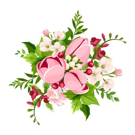 Illustration pour Vector bouquet of pink tulip and freesia flowers isolated on a white background. - image libre de droit
