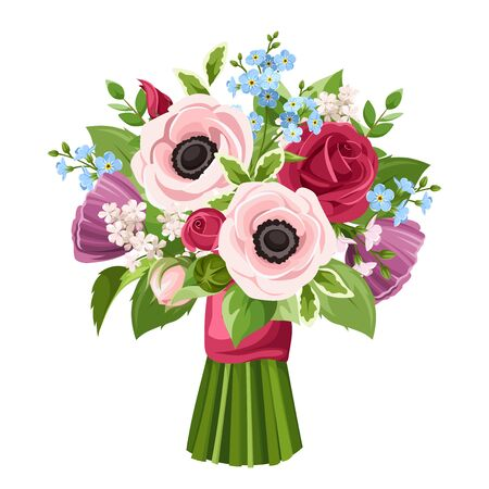Illustration pour Vector bouquet of red, pink, purple and blue anemones, roses and forget-me-not flowers isolated on a white background. - image libre de droit