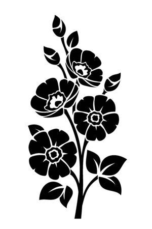 Illustration pour Black silhouette of flowers isolated on a white - image libre de droit
