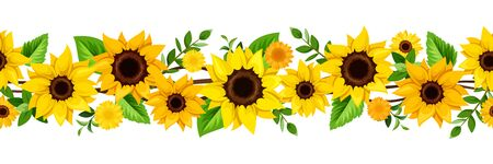 Illustration pour Vector horizontal seamless border with yellow sunflowers and green leaves. - image libre de droit