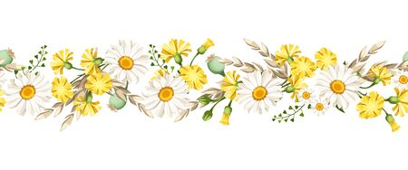 Illustration for Vector horizontal seamless border with white daisies and yellow wild flowers and ears of wheat. - Royalty Free Image