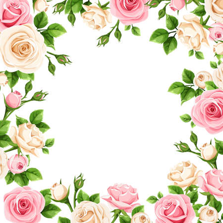 Illustration pour Frame with pink and white rose flowers. - image libre de droit