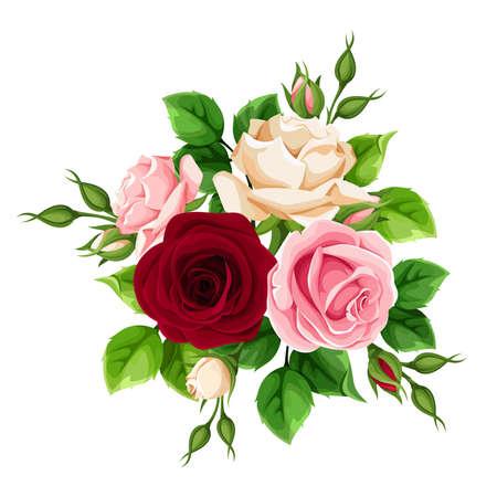 Illustration pour Bouquet of burgundy, pink and white rose flowers - image libre de droit