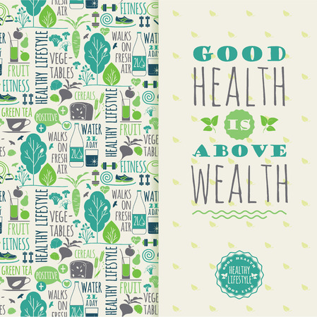 Healthy lifestyle vector illustration with typography. Design elements for a poster, flyer, graphic module.