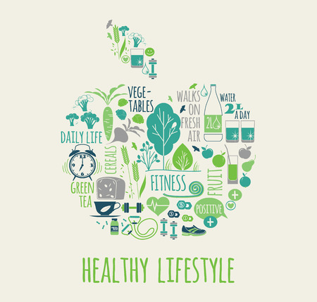 Healthy lifestyle vector illustration in the shape of apple