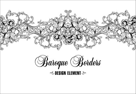 Illustration pour Ornamental border, frame. Baroque pattern. Vector seamless. Design element. - image libre de droit