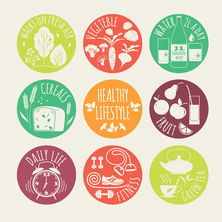 illustration of Healthy lifestyle icon set