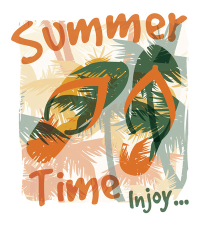 Tropical summer print with slogan for t-shirt graphic and other uses. Vector illustration.