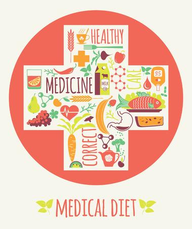 Vector illustration of Medical diet. Elements for design