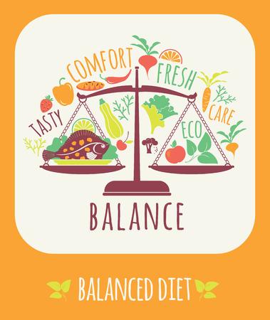 Vector illustration of Balanced diet. Elements for design