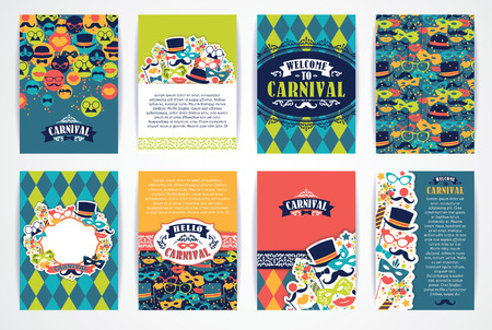 Illustration pour Celebration festive background with carnival icons and objects. Vector Design Templates Collection for Banners, Flyers, Placards, Posters and other use. - image libre de droit