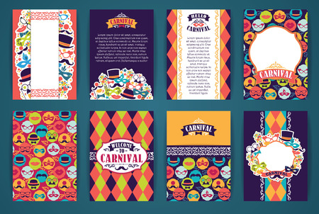 Ilustración de Celebration festive background with carnival icons and objects. Vector Design Templates Collection for Banners, Flyers, Placards, Posters and other use. - Imagen libre de derechos