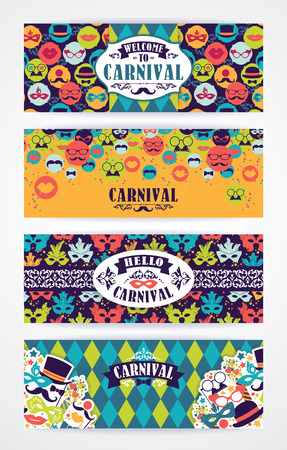 Illustration pour Celebration festive background with carnival icons and objects. Vector Design Templates Collection for Banners, Flyers and other use. - image libre de droit