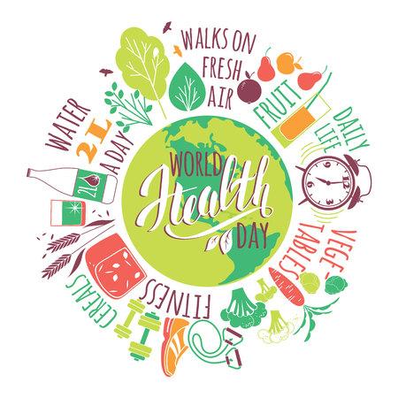 Vektor für World health day concept with healty lifestyle illustration. - Lizenzfreies Bild
