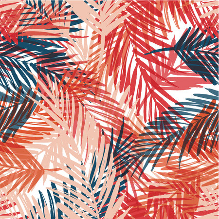 Illustration for Seamless exotic pattern with palm leaves. Vector hand draw illustration - Royalty Free Image