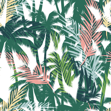 Illustration for Tropical summer print with palm. Seamless pattern - Royalty Free Image